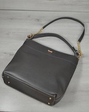 Женская стильная Сумка- цепочка серого цвета 54101, фото 2