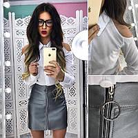 Костюм модный рубашка с вырезами на плечах из хлопка и юбка эко кожа разные цвета Kb637, фото 1