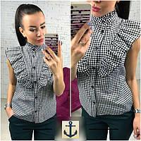 Рубашки женские без рукавов чёрно-белые модель 16512274