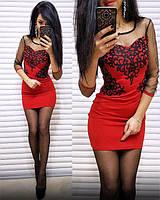 Платье женское короткое с узором и прозрачными рукавами P8370, фото 1