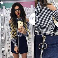 Костюм стильный рубашка в клетку из хлопка и джинсовая юбка мини разные цвета Kb776