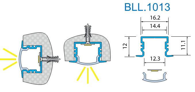 Светодиодный профиль врезной. BLL-1013 анод. L-2метра