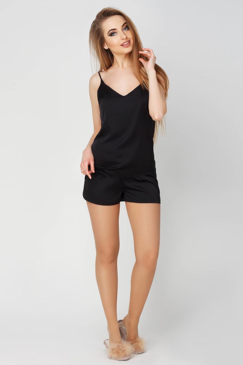 74373ea6175e257 Женская черная пижама из шелка шорты и майка КАРИНА DONO - Интернет-магазин