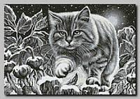 Схема на ткани для вышивки бисером  Ночной кот ТМ Орхидея