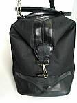 Сумка дорожная МалыйСаквояж на молнии 46х32х21 см, черная с кожаными вставками, фото 2