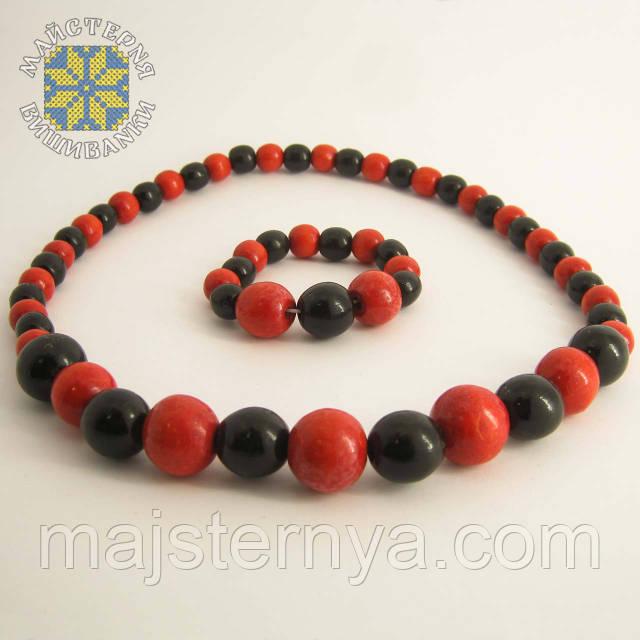 Купити намисто з браслетом червоно-чорне