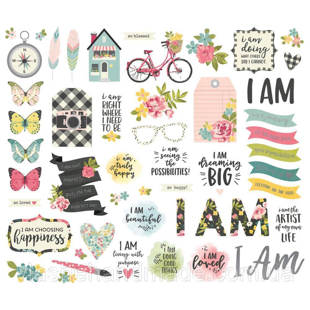 Висічки - I am - Simple Stories - WPlatinum Foil - 53Pkg