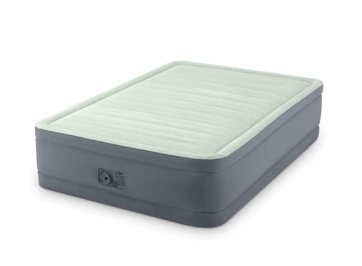 Надувная полуторная велюровая кровать Intex 64904 со встроенным насосом