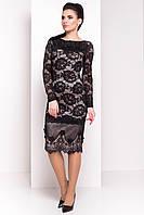 Платье женское, цвет: Черн/беж цветы/стразы, размер: S, M, L