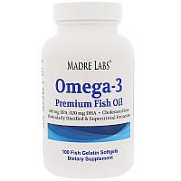 Madre Labs, Рыбий жир премиум-класса с омега-3, не содержит ГМО, не содержит глютена, 100 капсул из рыбного же
