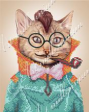 """Схема для вышивки бисером  W-561 """"Кот с эрокезом"""""""