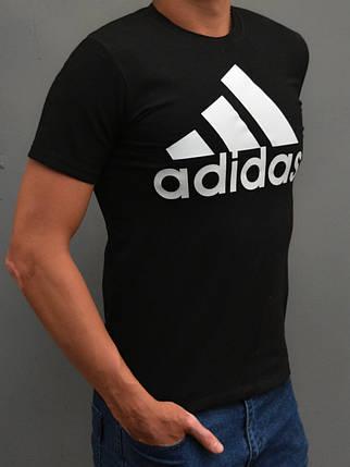 Остались размеры: 44,46. Мужская спортивная футболка Adidas (адидас) - чёрная, фото 2
