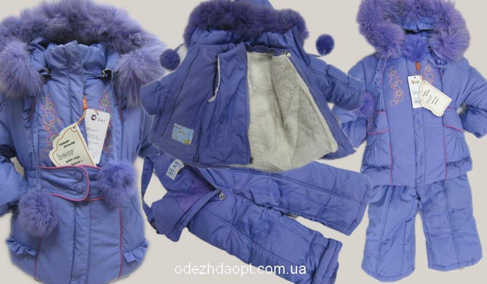 Куртка+комбез Вышивка-Зима 23-8017 Сирень
