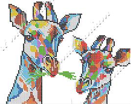 """Схема для вышивки бисером  W-447 """"Жирафы"""""""