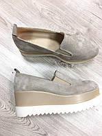 Туфли на платформе замша  36