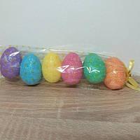 Яйца пасхальные сувенир из пенопласта с блестками 7 см, 6 штук