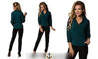 Костюм блузка и брюки зелёный модель 08514568