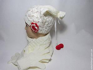 Шапка +Шарф +Перчатки Цветок Tumac 2883
