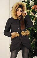 Куртка длинная женская чёрная модель 214514616