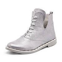 Женские весенне осенние ботинки серебряного цвета из натуральной кожи с шнуровкой по подъёму