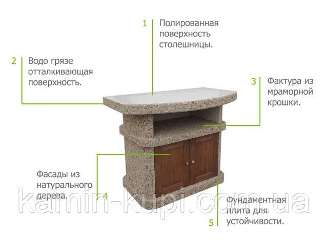 """Стол для барбекю """"Сицилия"""" с деревянным фасадом"""