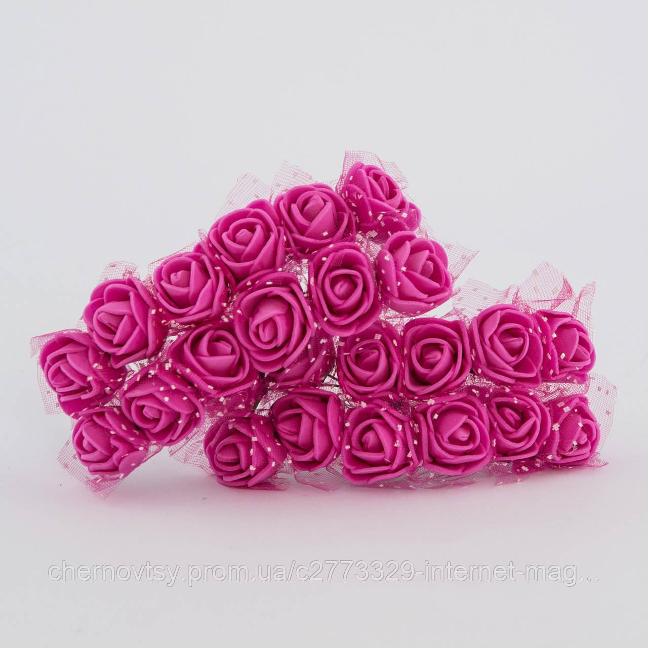 Розы из латекса с фатином 1.5 см, уп. 144 шт.