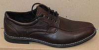 Мужские кожаные туфли коричневые на шнурках классика, кожаная обувь мужская от производителя модель АМТ35КШкор