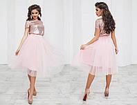 Костюм вечерний нежно-розовый модель 208015260
