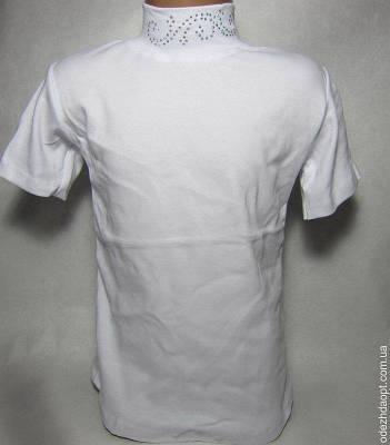 10315 Американка короткий рукав стразы ( рисунок может отличаться) бел