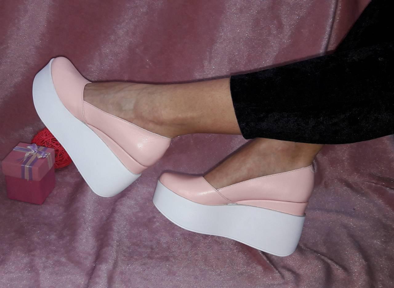 aaab17cf8 Женские туфли ПУДРА на белой платформе натуральная кожа - ГЛЯНЕЦ |  Интернет-магазин КОЖАНОЙ обуви