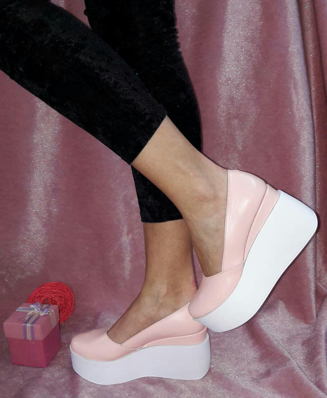 b437ffe3b Женские туфли ПУДРА на белой платформе натуральная кожа - ГЛЯНЕЦ   Интернет- магазин КОЖАНОЙ обуви