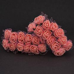 Троянди з фоамирана в фатине діаметром 2 см