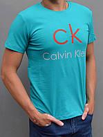 Мужская футболка Calvin Klein - размеры 46-54, бирюзовая
