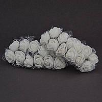 Розы из латекса с фатином, упаковка 144 шт, диаметр - 2 см