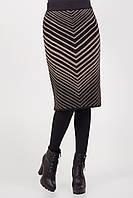 Вязаная женская юбка с оригинальным рисунком цвет черный/капучино