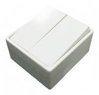 Выключатель 2-клавишный белый 5655 (б/болт) 16А/230В Hager