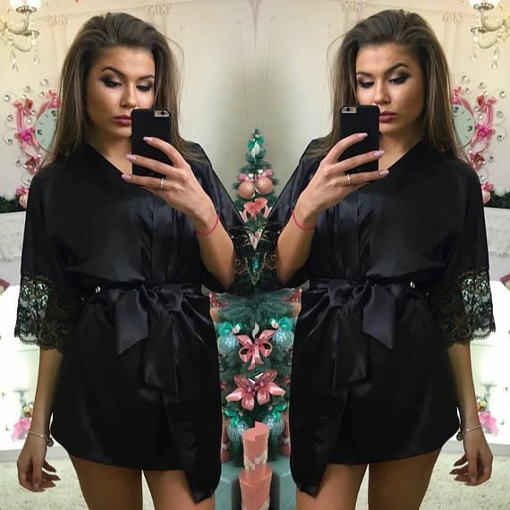 Черный женский атласный халат