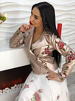 """Модная, женская куртка-косуха с хитовой вышивкой """"Розочки"""""""
