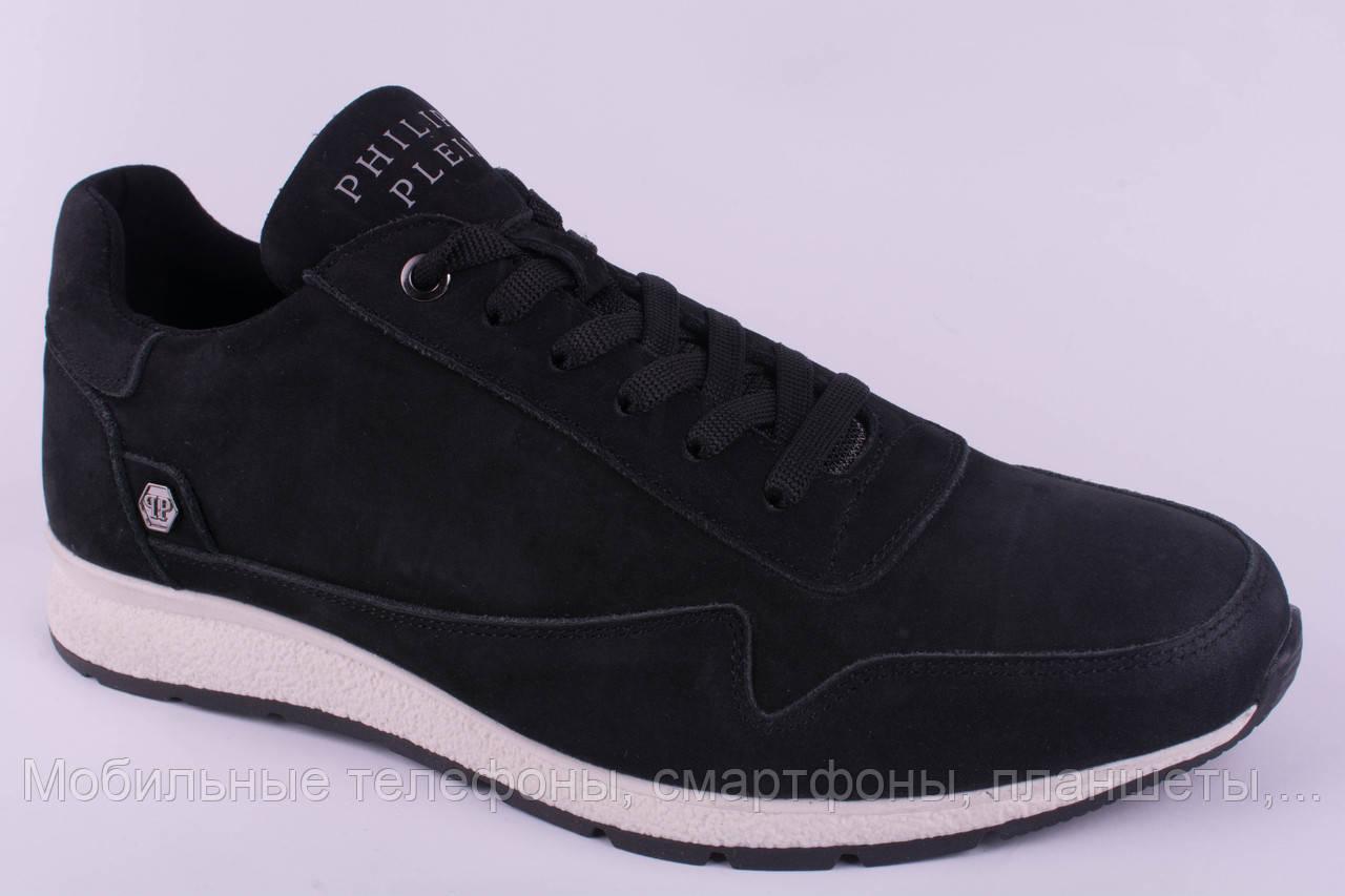 4653ddc54 Мужские кроссовки Philipp Plein замшевые черные на белой подошве 40, 41,  42, 43