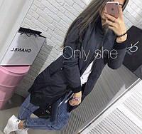 Новинка весны! удлиненная женская куртка удлиненный бомбер синий  42 44 46, фото 1