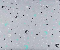 Ткань. Хлопок Ноченька с луной мятного цвета на сером фоне. Отрез 50х40см