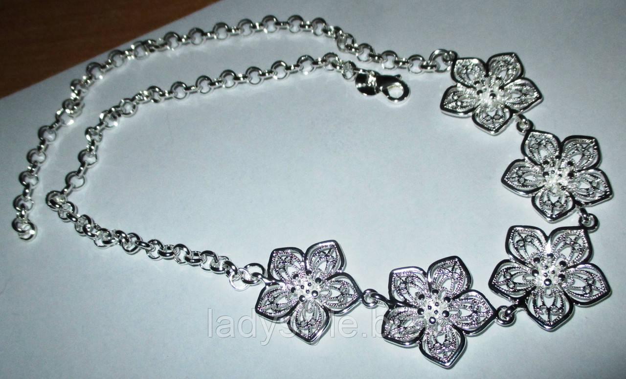 """Серебряное ожерелье  """"Сакура"""" от студии LadyStyle.Biz"""