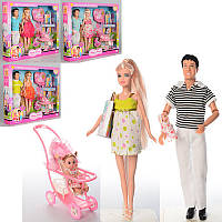 Кукла беременная и КенDEFA8088, 29,5см, пупс 2шт (4 и 10см), коляска, аксессуары