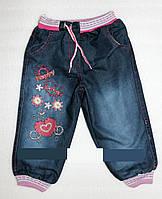 """Джинсы на меху для девочек """"Цветы под солнцем"""" 1 год"""