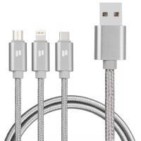 Универсальный кабель для зарядки смартфона puridea l10  silver 3-в-1 lightning тип c microusb длина 1,5 метра