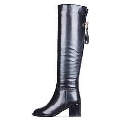 Кожаные зимние черные женские ботфорты на широком каблуке GLOSSI