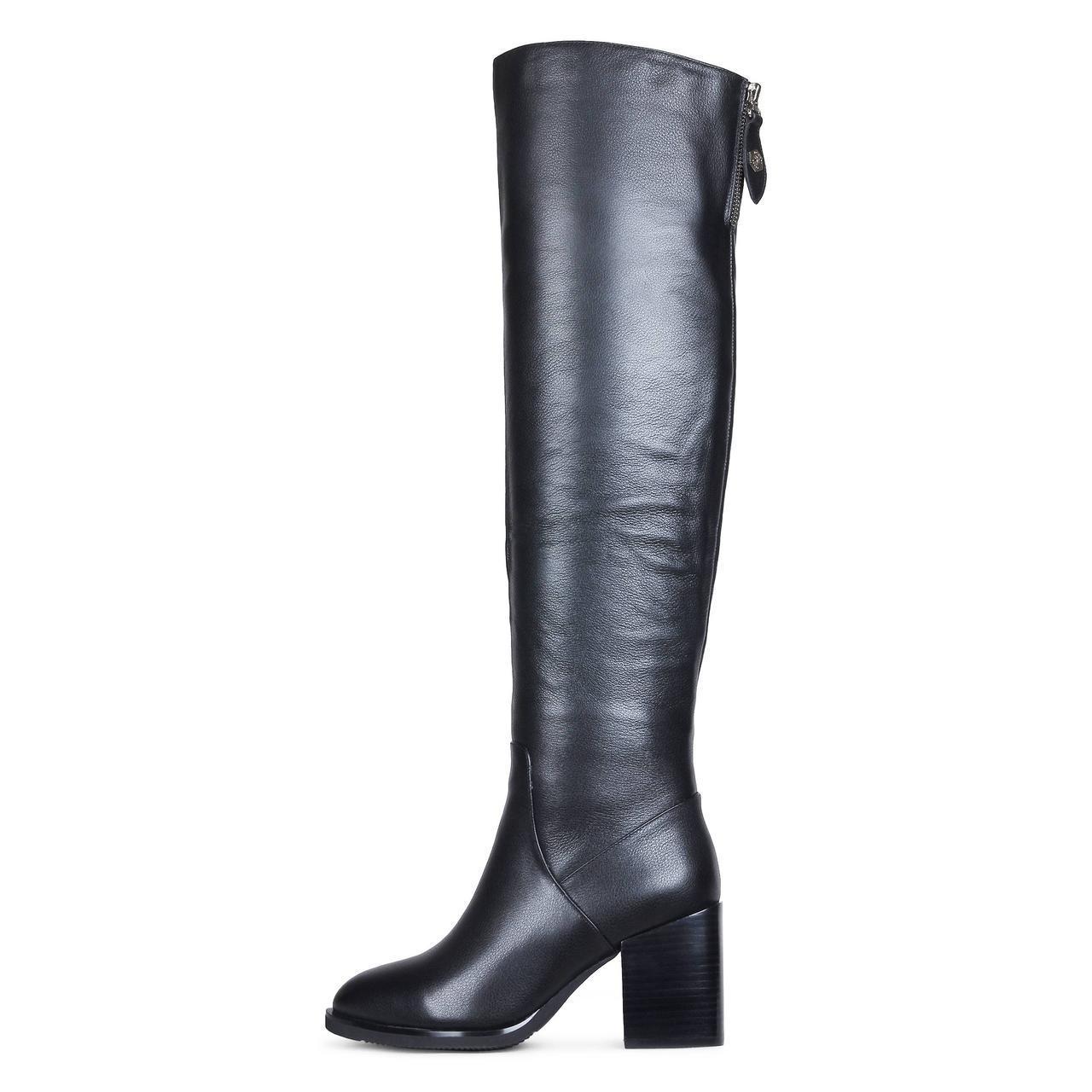 Женские зимние ботфорты из натуральной кожи черного цвета на каблуке  A-VANI  36