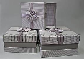 Набор квадратных коробок серые в полоску с бантом из 3-х шт.