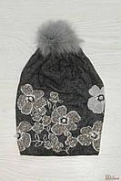 Шапочка с цветочками для девочки (56 см)  No name 2125000467917