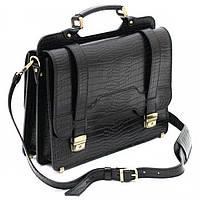 Черный портфель из качественной кожи Old master арт. SPS-3Kroko